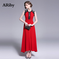 ARiby women dress Elegant lace Red long maxi Dress 2019 new summer fashion Lady patchwork A Line Sleeveless Slim dress