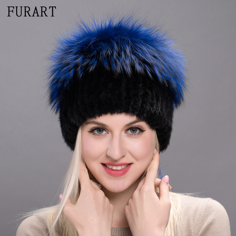 Women real mink fur hat for Winter knitted with natural mink raccoon fur hats new caps with pompons tails female cap DXJ17-21