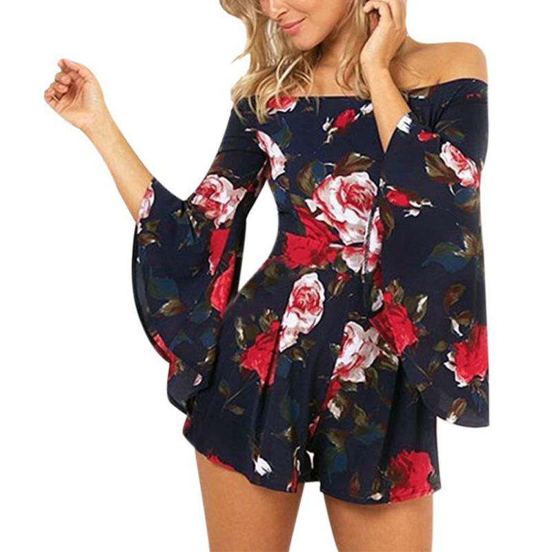 2018 Fashion Womens Chiffon Floral Rompers Trumpet Long Sleeve Playsuits Slash Neck   Jumpsuits   Y3