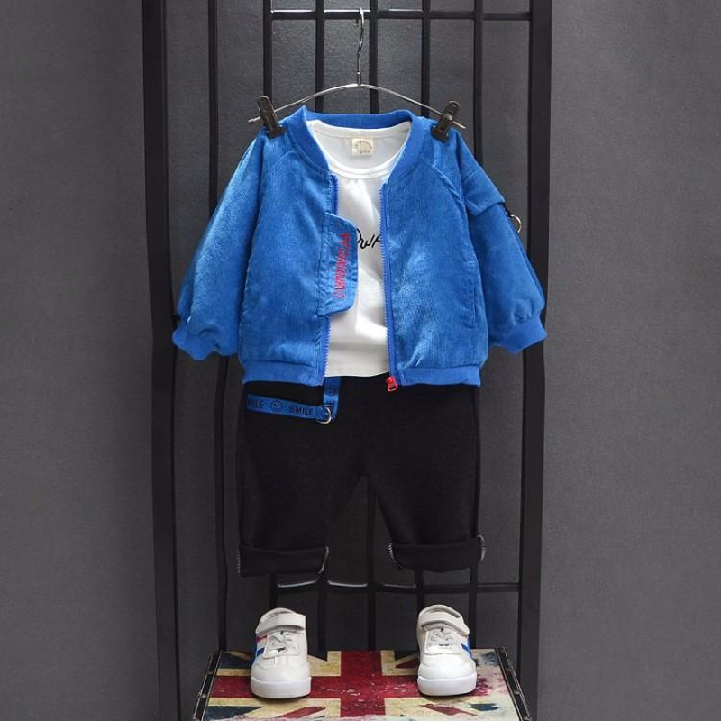 цены Baby Spring and Autumn Pure Cotton Suit Boy Leisure Baby T-shirt Jacket Jacket Long Pants Three Pieces Fall Boys Outfits