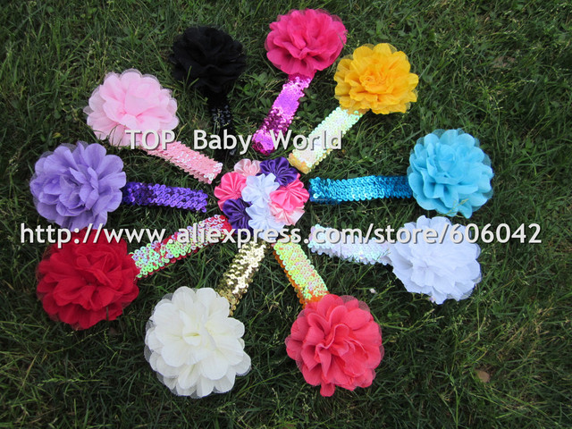 "Hot Selling 1""Sequin Headbands with Tulle Puff Flower Mesh Flower  Hairbands Hair Accessories Girl Bands 13pcs/let Free Shipping"