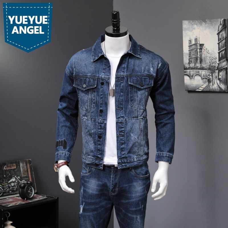 Denim 2 stuk Sets Mannen 2019 Nieuwe Herfst Mode Koreaanse Slim Fit Denim Jassen En Jeans Casual Tweedelige Sets merk Kleding Suits