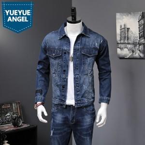 Мужской джинсовый комплект из 2 предметов, Корейская Облегающая джинсовая куртка и джинсы, повседневный комплект из двух предметов, брендов...