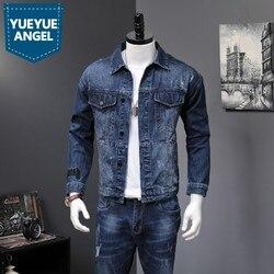 Denim 2 pezzi Set Degli Uomini di Nuovo Modo di Autunno Coreano Slim Fit Giubbotti Jeans E Jeans Casual A Due Pezzi Set di Vestiti di Marca si adatta alle