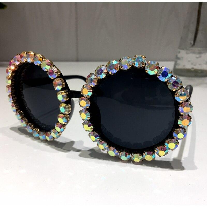 HTB1r0oddGLN8KJjSZFGq6zjrVXaf - Women Sunglasses 2018 Round Vintage AB Rhinestone Sunglasses Luxury Shades Female Funky Sun glasses Oculos De Sol