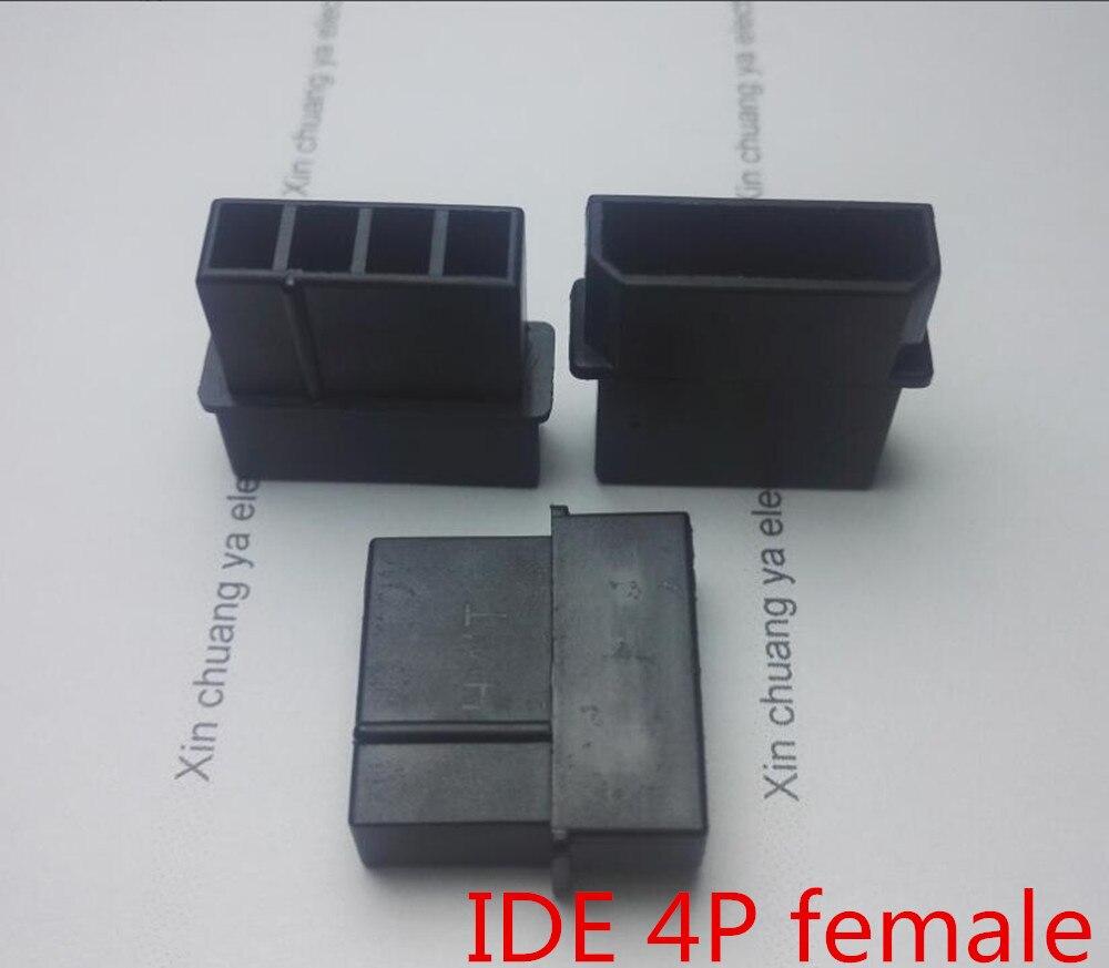 Molex Black Big 4P 4D Female For PC Computer ATX  IDE Power Connector Plastic Shell Housing