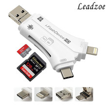 Кардридер Leadzoe 4 в 1 i флеш-накопитель SD/TF карта памяти кардридер адаптер для iPhone iPad/Andriod/PC OTG кардридер