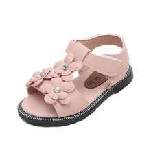 Summer New Kids Shoes Flowers Baby Girls princess Shoes Kids little baby girls Sandals Pink White 1 2 3 4 5 6 7Years Old Kids