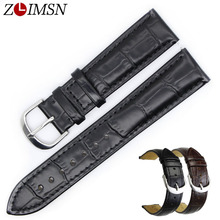 ZLIMSN New Genuine Leather Watch Band Men's Women watch Accessories Black Strap Suitable for Tissot Longines 18mm 20mm 22mm 24mm все цены