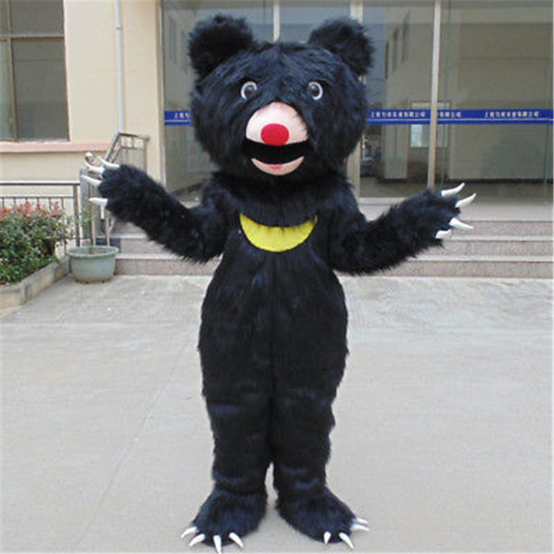 Advertising Carnival Halloween Long Fur Black Bear Mascot Costume Suits Outfits Cosplay Party Game Dress Adults Holiday Festival