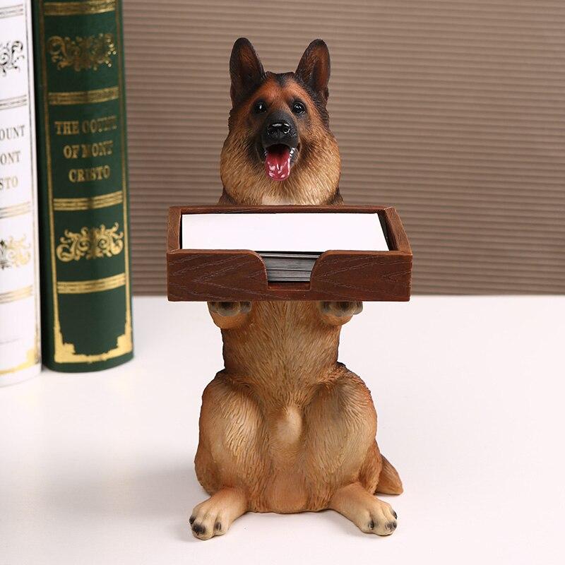 الإبداعية الراتنج الذئب الكلب النحت المفروشات تخزين بطاقة الأعمال حامل لطيف الحيوان الكلب التخزين ديكور المنزل-في التماثيل والمنحوتات من المنزل والحديقة على  مجموعة 1