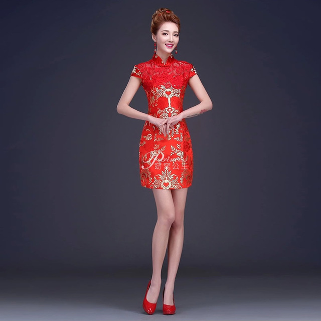 Modern Chinese Dress Mini Qipao Lace Red Traditional China Clothing Cheongsam Vintage Chinese Jurk Vestido Oriental Qi Pao QL