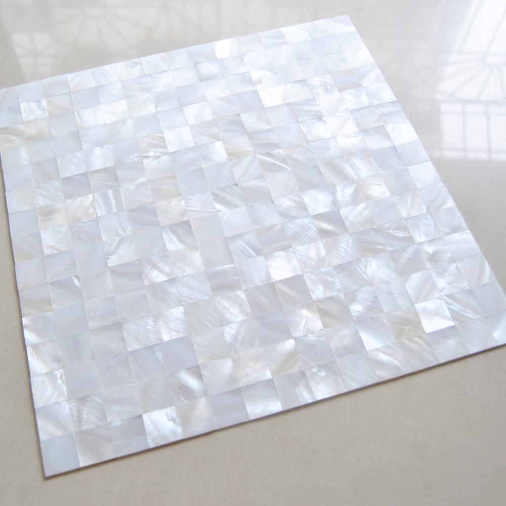 - White Squared Groutless Pearl Shell Tile 5 Sq.ft Mosaic Tile