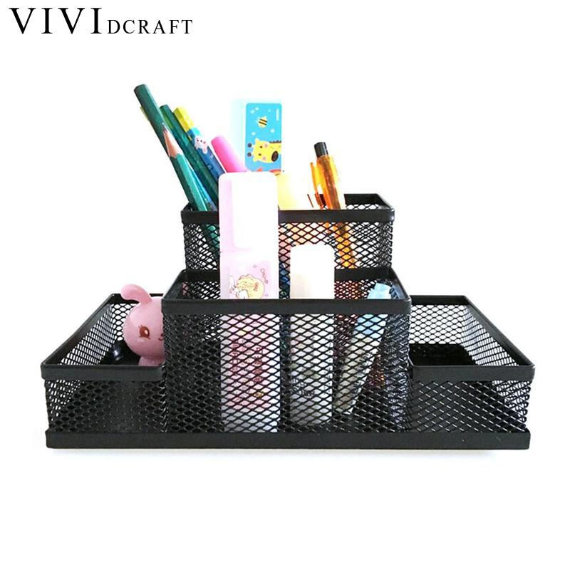 Vividcraft Mesh Cube Metal Stand Combination Holder Desk Desktop Accessories Stationery Organizer Pen Pencil Office Supplies tianse golden brass pen holder stainless steel metal desk accessories pencil stand pen pot stationery container office supplies