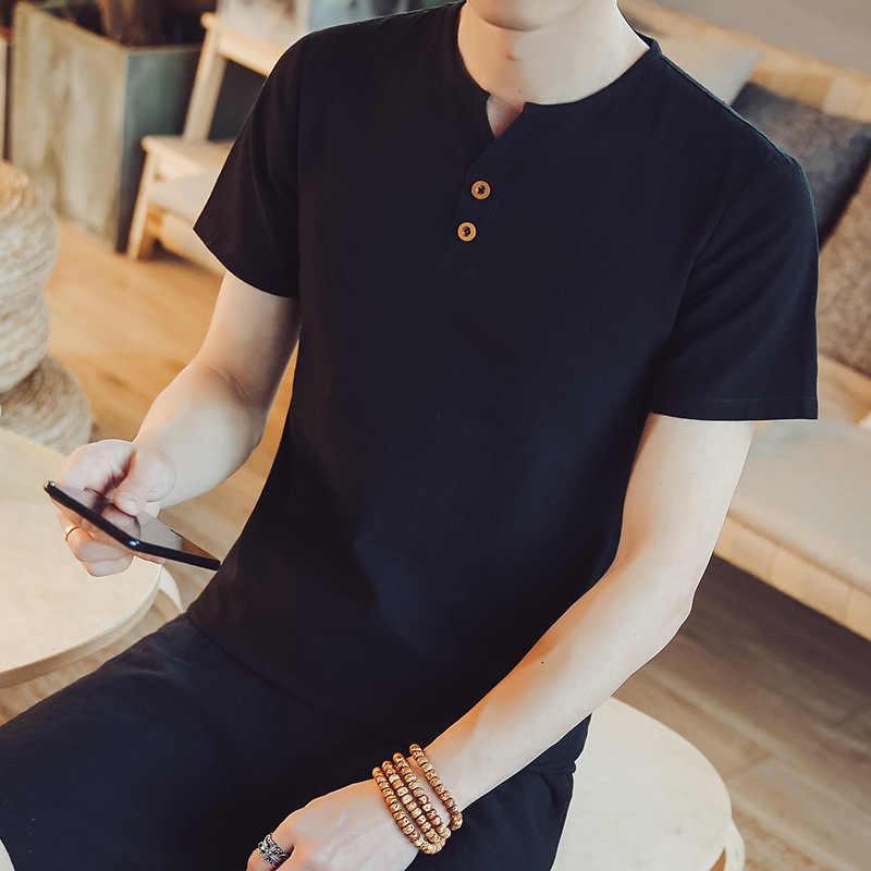 新ファッションコットンリネンシャツ男高品質のシャツの男性のカジュアルファッション中国スタイルシャツドロップシッピング通気性服