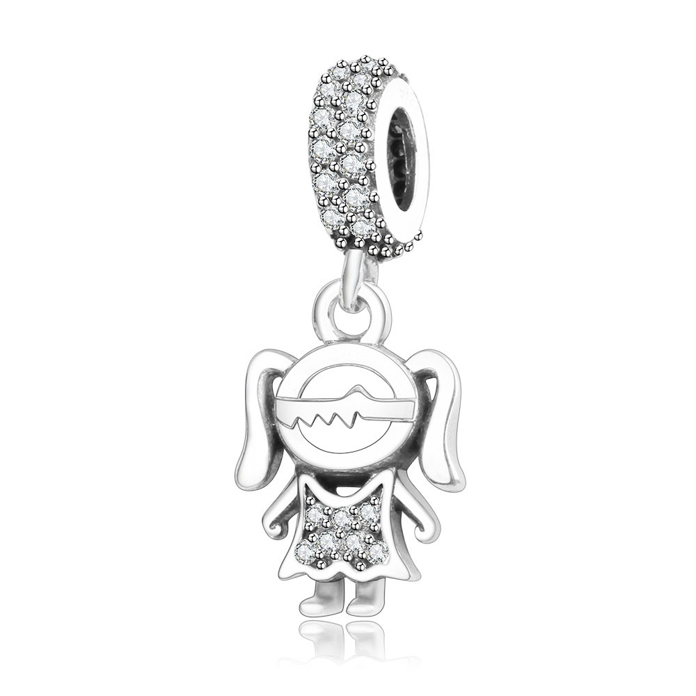 Подходит браслет Pandora Подвески из стерлингового серебра 925 пробы мальчик талисман для девушки Подвеска-бусы DIY ювелирных изделий дизайн Berloque - Цвет: girl