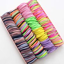 100pcs/lot 3CM Hair Accessories girls Rubber bands Scrunchy Elastic Hair Bands kids baby Headband decorations ties Gum for hair(China)