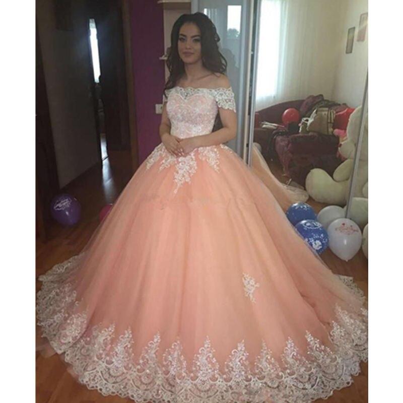 Sweet 16 pêche Quinceanera robes 2019 hors épaule Appliques Puffy Corset dos robe de bal princesse 15 ans filles robes de fête