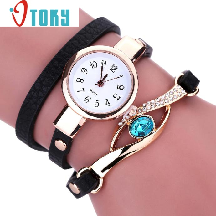Hot hothot Women Diamond Wrap Around PU Leatheroid Quartz Wrist Watch relogio feminino Bracelet Clock Montre Femme ot5
