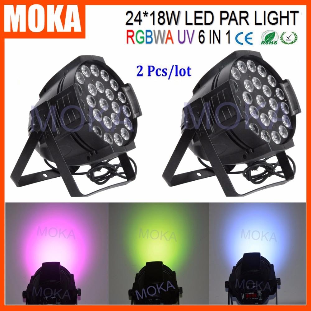 2PCS/LOT Disco Lighting DMX 24*18W RGBAW UV Led Par Light 6 In1