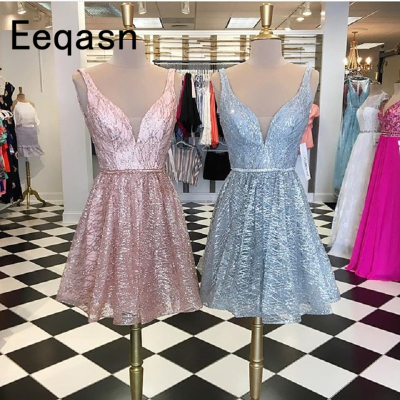 New 2019 Sparkly Sequined Cocktail Dress A Line Knee Length Glitter V Neck Short Homecoming Dresses Party Gown robe cocktail