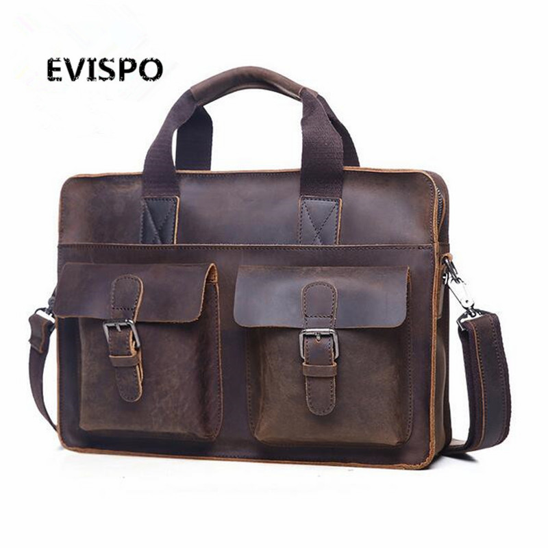 EVISPO Men Bags Crazy Horse Leather Casual Briefcase Portfolio Genuine Leather Man Business Bag Messenger Shoulder Laptop Bag crazy horse genuine leather men bags vintage loptop business men s leather briefcase man bags men s messenger bag 2016 new 7205