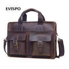 EVISPO Men Bags Crazy Horse Leather Casual Briefcase Portfolio Genuine Leather Man Business Bag Messenger Shoulder Laptop Bag
