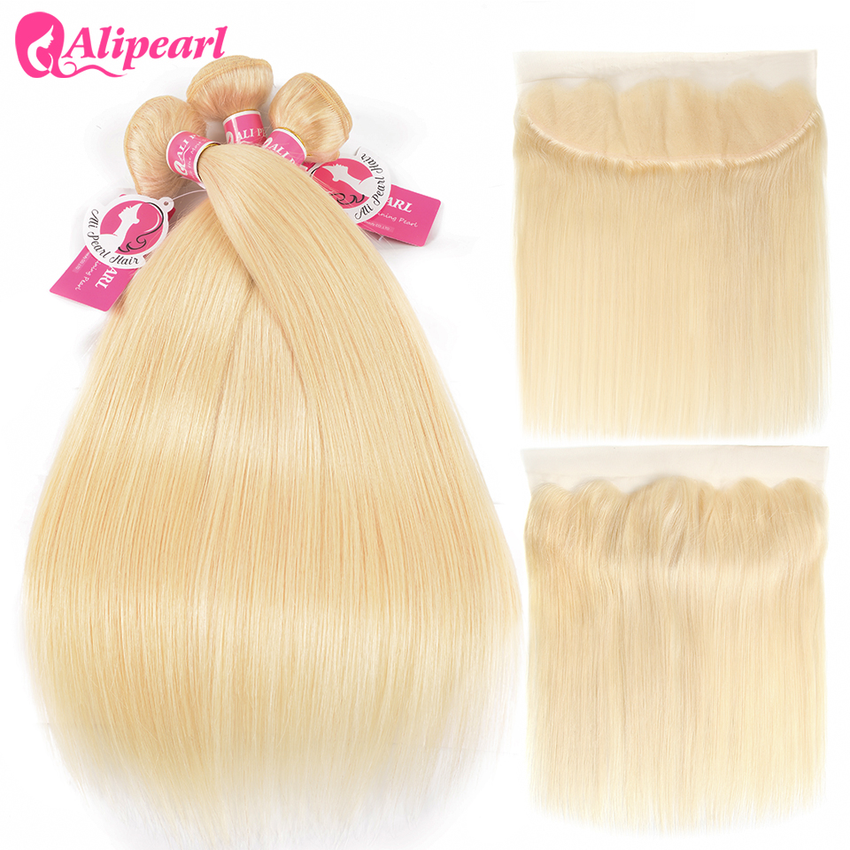 Ali Pearl Hair 613 Blonde Bundles With Frontal Pre Plucked Straight Hair Honey Platinum Blonde Bundles With Closure Remy Hair