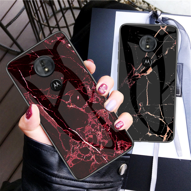 Image 2 - Luxury Marble Tempered Glass Phone Case For MOTO G6 G5S Plus Hard Case For Motorola G6 Play G5S Plus Cover Coque Silicone Capa-in Fitted Cases from Cellphones & Telecommunications