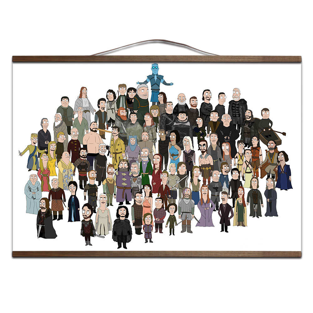 Game of Thrones All Characters poster for HD canvas poster decoration painting TV play prints posters with solid wood 1