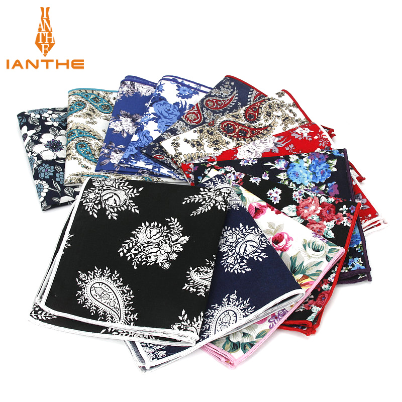 2018 Brand New Style Hankerchief Scarves Vintage Cotton Hankies Men's Pocket Square Handkerchiefs Blue Flower Paisley Hanky
