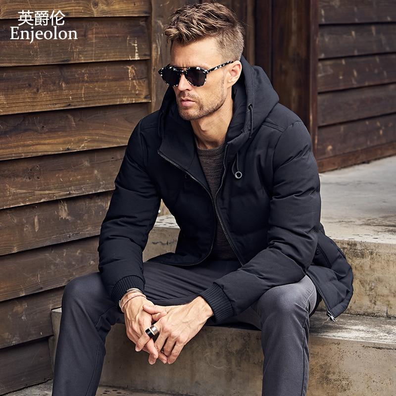 Enjeolon Marque hiver Coton Rembourré Veste manteau Hommes noir Parka hoodies manteau pour hommes Épais Matelassé mode 3XL Manteau Hommes MF0295
