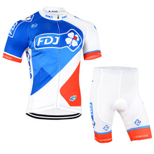 2016 new FDJ Cycling Short sleeve jersey bib shorts Breathable MTB Bicycle Clothing Quick dry Pro cycling wear Outdoor Sport