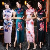2017 Fashion Sexy Red Flower Qipao Chinese Modern Black Cheongsam Long Evening Dresses Traditional Dress Oriental