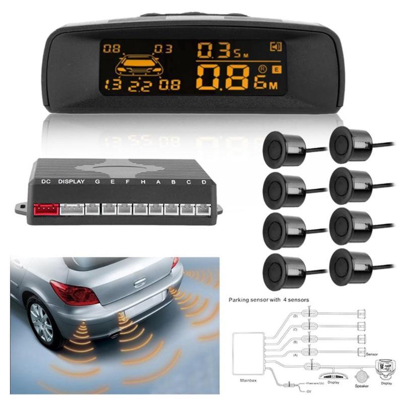 Kit de capteur de moniteur de stationnement de voiture LCD automatique détecteur d'assistance au stationnement de voiture système de Radar de sauvegarde arrière avec 8 capteurs