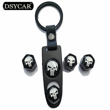 *DSYCAR 1Set Skull Car Moto Bike Keychain+Tires Wheel Valve Cap Car Styling For VW BMW Ford Toyota Lada Fiat Audi Honda Kia Opel
