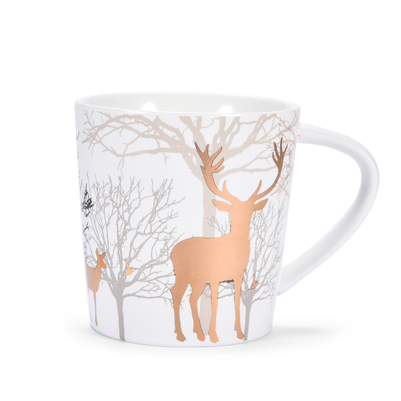 550ml Large Capacity Creative Ceramic Coffee Tea Cup With Lid Spoon Golden Elk Couple Christmas Gift Xicara Copo Deer Classical