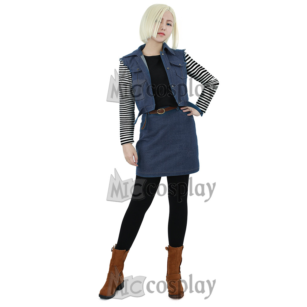 Anime Dragon Ball Android 18 Cosplay Costume Women Clothing