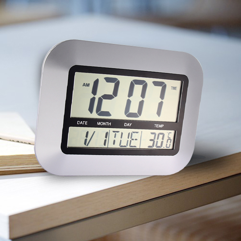 bedroom alarm clock. Home Decor Alarm Clocks Temperature Display Silver Desk Bedroom Kitchen  Table Digital Large Wall Clock Support 4 Languages in from