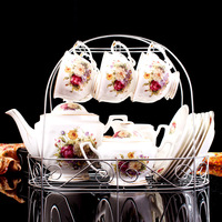 Drop Shipping 15 Pcs European Style Bone China Coffee Set Afternoon tea Coffee Pot Cups Saucers Set High Grade Ceramic Teaware