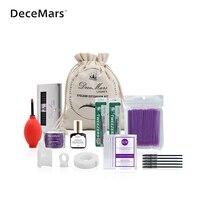 DeceMars Individual Eyelash Extensions Kit Strip Graft Glue Lint Free Under Patch Pad Tweezers Cleansing Lotion Tools Case Bag