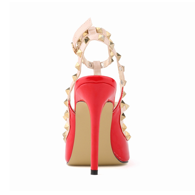 Fashion Rivets Shoes High-heeled Pointed Toe Hasp Thin Heels Women Sandals Rivet Pointed Toe Shoes Female Sandals Pumps 302-5PA