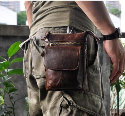 """imágenes para Retro aceite de cera de cuero genuino 7 """"universal al aire libre cintura bolsa bolsa del teléfono case para xiaomi mi max/caterpillar cat s60/agm x1"""