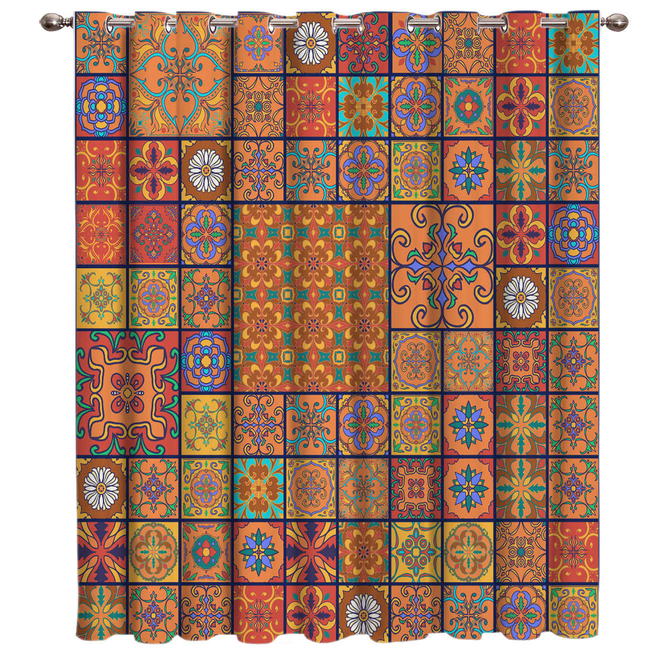Retro Ethnic Square Pattern Room Curtains Large Window Window Blinds Living Room Blackout Outdoor Kitchen Indoor Decor Curtain
