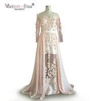 New Saudi Arabia Evening Dress Chiffon Lace Applique Sash Long Sleeves Sheath Evening Long Dress myriam fares Celebrity Dresses