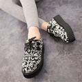 Luxury Brand Women Flat Shoes Platform Summer Loafers Leather Flats Shoes Creepers Vintage Harajuku Thick Shoes