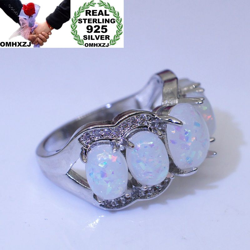 OMHXZJ Wholesale European Fashion Woman Man Party Wedding Gift Silver White Oval Opal 925 Sterling Silver Ring RR62