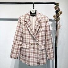 Осень и зима feminino ретро костюм, пиджак в клетку прямой Женский Повседневный шерстяной пиджак костюм женский плед Тонкий Блейзер для