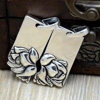 Handgemaakte Zilveren Liefhebbers hanger Lotus Bloem Ketting Cadeau aan mannen en vrouwen vrienden S990 voet zilveren custom mode