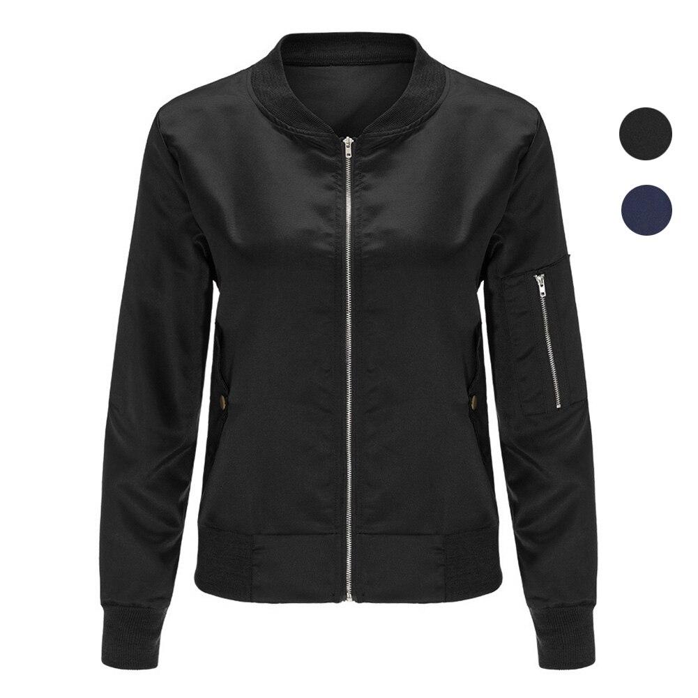 Fashion Black White Bomber Jacket Collar Women Zipper Up Biker Slim Tendencies Short Shirts Basic Long Less Putih M Thin Sleeve Casual Stand Fit Spring Autumn Coat